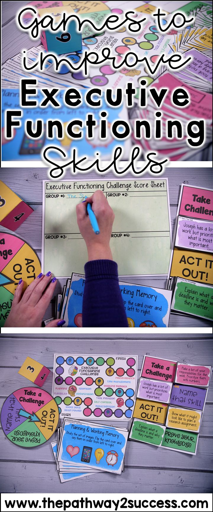 Games and activities that teach critical executive functioning skills, including self-control, attention, organization, flexibility, working memory, planning, and more!