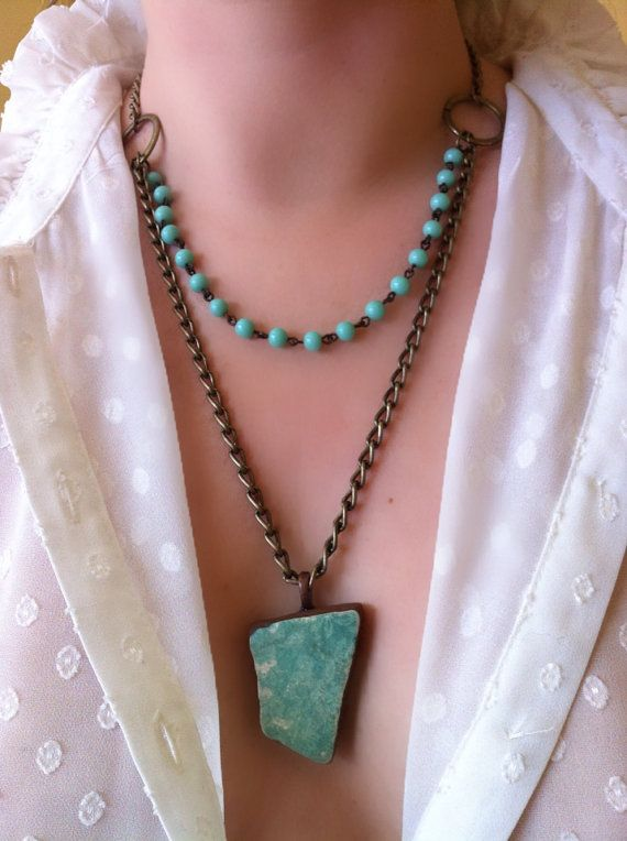 Mermaid in Blue. Turquoise 2 strand necklace. Ceramic sea foam tile with subtle flora pattern. Antiqued brass vintage chain. Beads from 60's on Etsy, $55.30