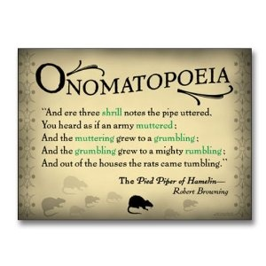 """Literary Tools: Onomatopoeia English Literature Poster featuring a quote from """"The Pied Piper of Hamelin"""" by Robert Browning. Laminated Educational Art Print"""
