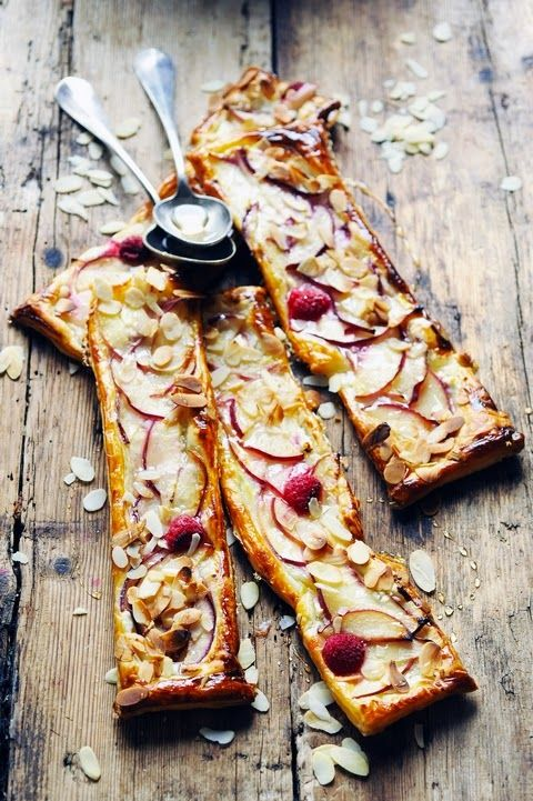 Goat and peach pastry tart