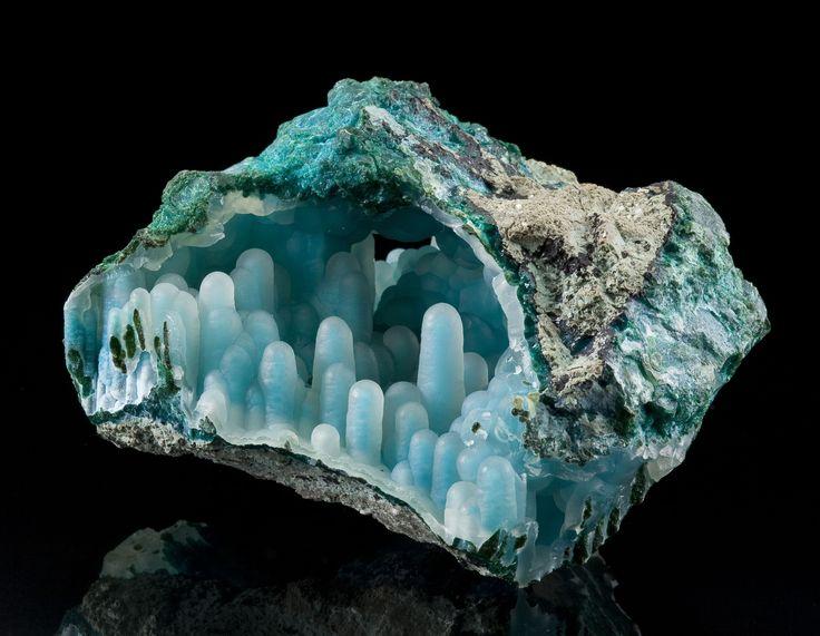 Chalcedony on Chrysocolla stalactites