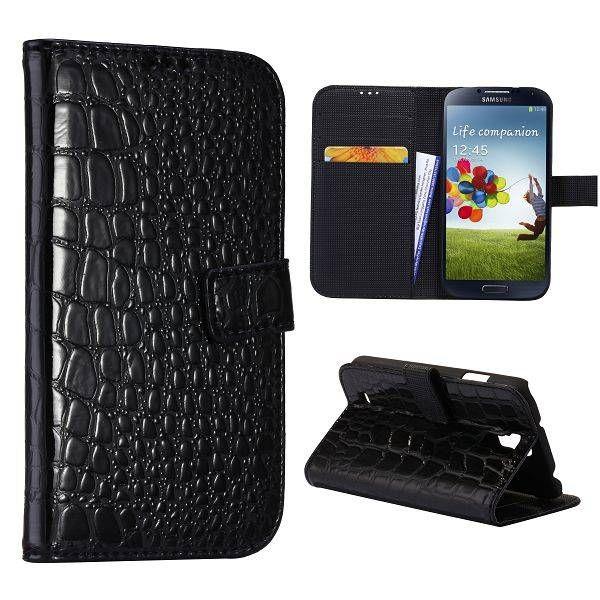 Krokodillenleer zwart bookcase hoesje voor de Samsung Galaxy S4