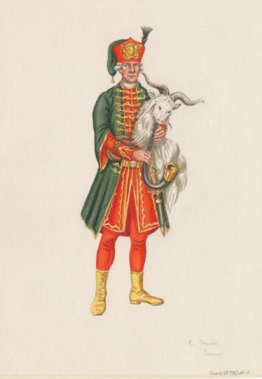 Electorate of Saxony; Artillery, Bagpiper, c.1730 Plate by Rudolf Trache (1866-1948)