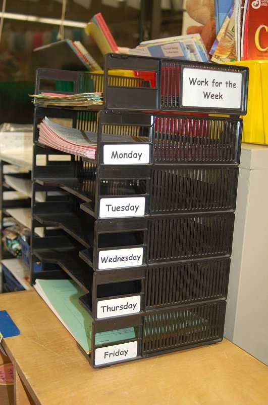 Elk bakje staat voor een dag van de week. Handig om voor iedere dag je materiaal klaar te leggen.