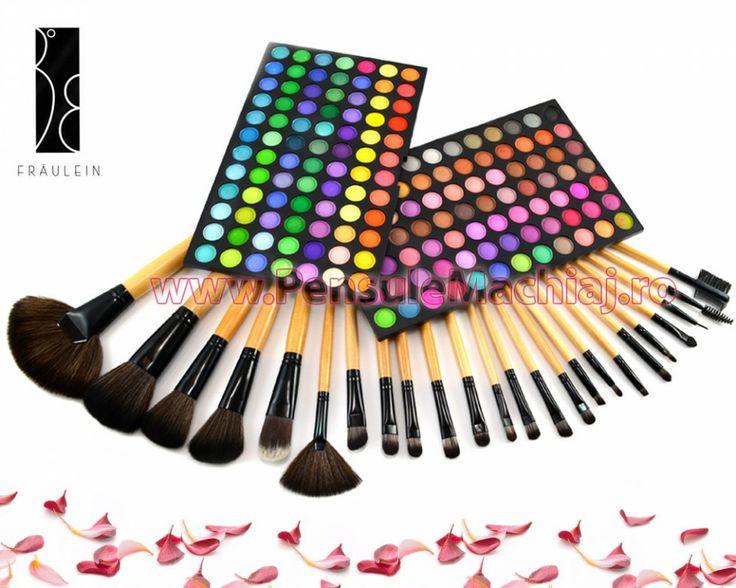 Trusa Farduri 168 culori Fraulein38 LolliPop 02 + 24 pensule machiaj lemn lacuit