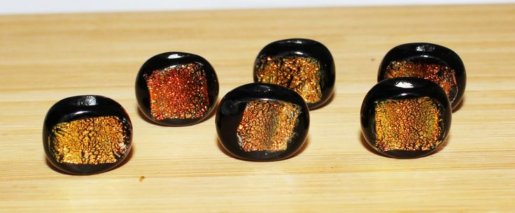 Set of (6) 12 X 10mm Black Base with Orange Foiled Dichroic Glass Beads. Halloween, Seasonal by BeadYourObsession on Etsy