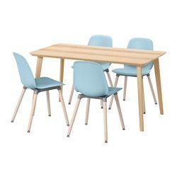 LISABO / LEIFARNE Table and 4 chairs, ash veneer, light blue - IKEA