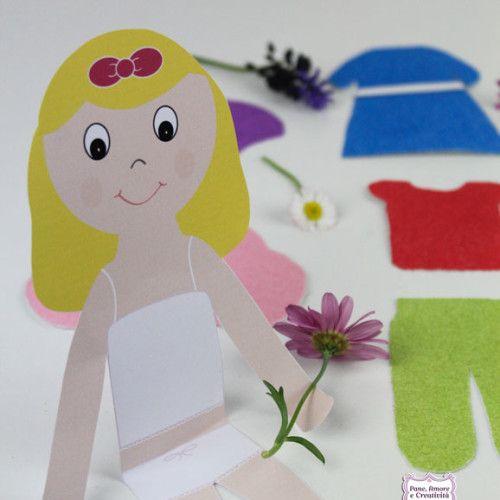 Giochi creativi: stampa e decora i vestiti per la bambola di carta Bea