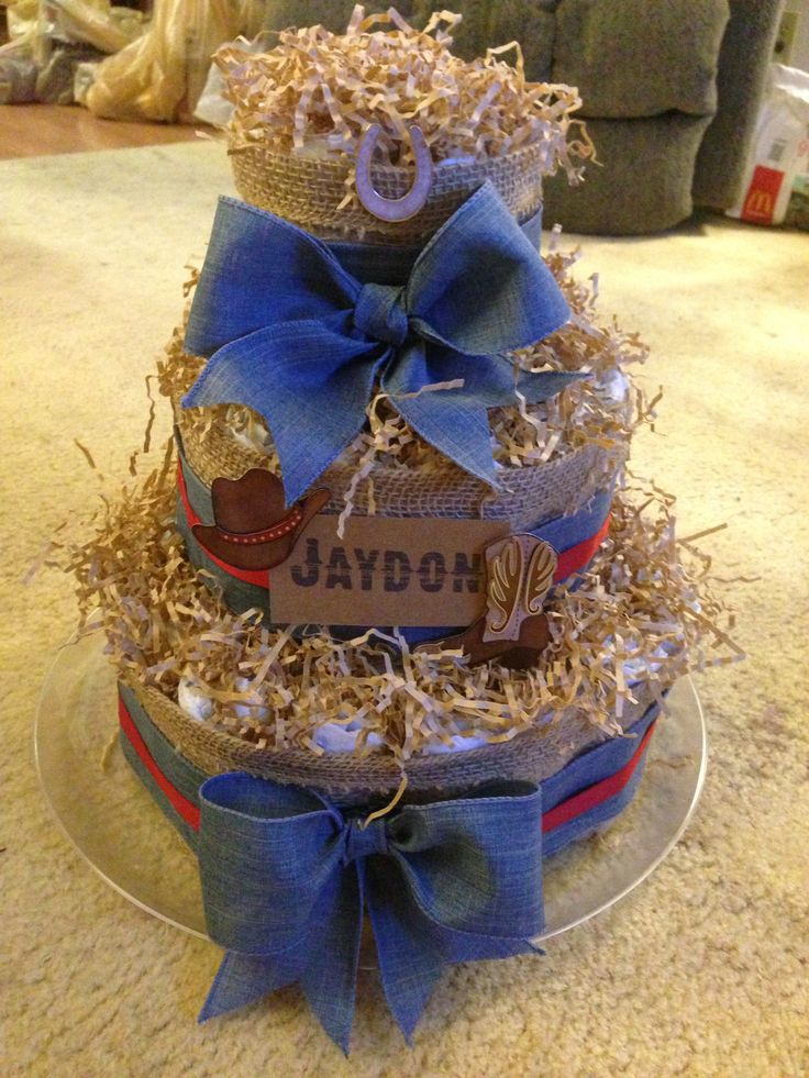 western themed baby boy diaper cake burlap denim ribbon accents