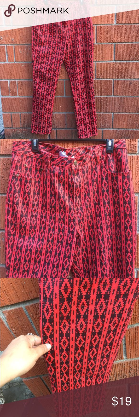Red and black Aztec pants. TALL length Good condition diane Gilman Pants