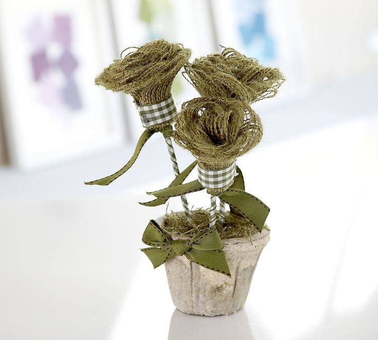 This pretty little pot of hessian flowers would make a lovely gift, why not make a few in different colours?