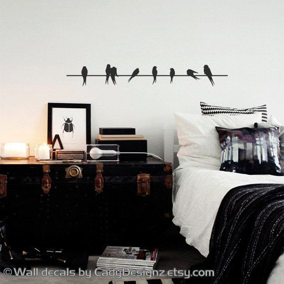 "Wall Decals Birds On A Wire Vinyl Decal - Home Decor - Lovebirds - Sparrows - Modern Wall Art - SALE - Clearance - 36"" on Etsy, $12.45"