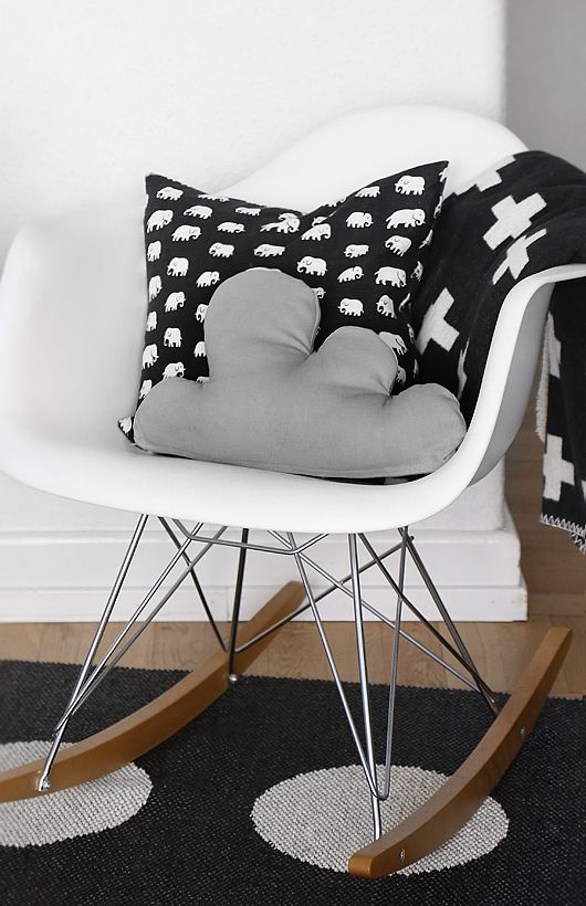 rocking chair / black and white textiles #rayrocker