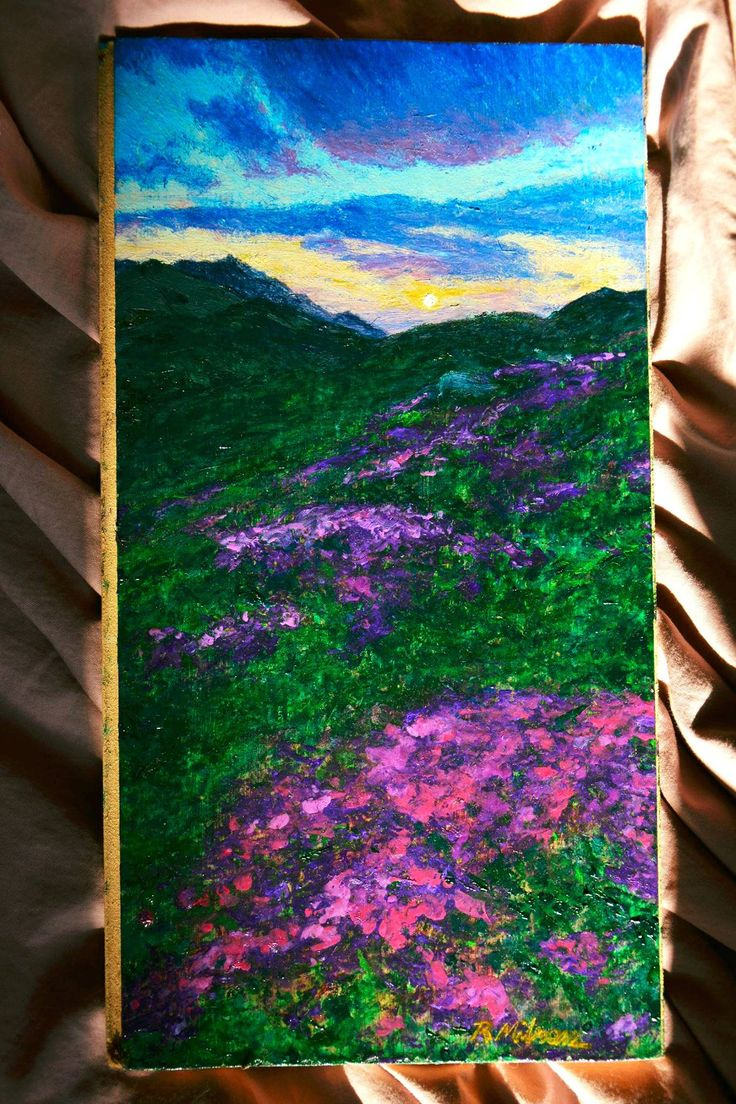 https://flic.kr/p/21RFetG | Studiu de asfinţit cu flori de rododendron în Munții Rodnei |  Ulei pe parchet 37x19