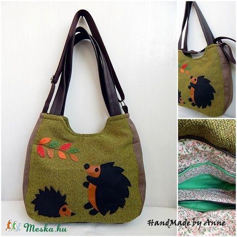 Sünik az őszi erdőben - univerzális XL táska, válltáska, oldaltáska, kézitáska egyben (annetextil) - Meska.hu