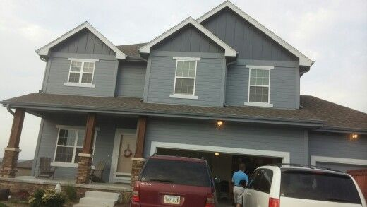 Sherwin williams storm cloud with krypton trim and - Sherwin williams outerspace exterior ...