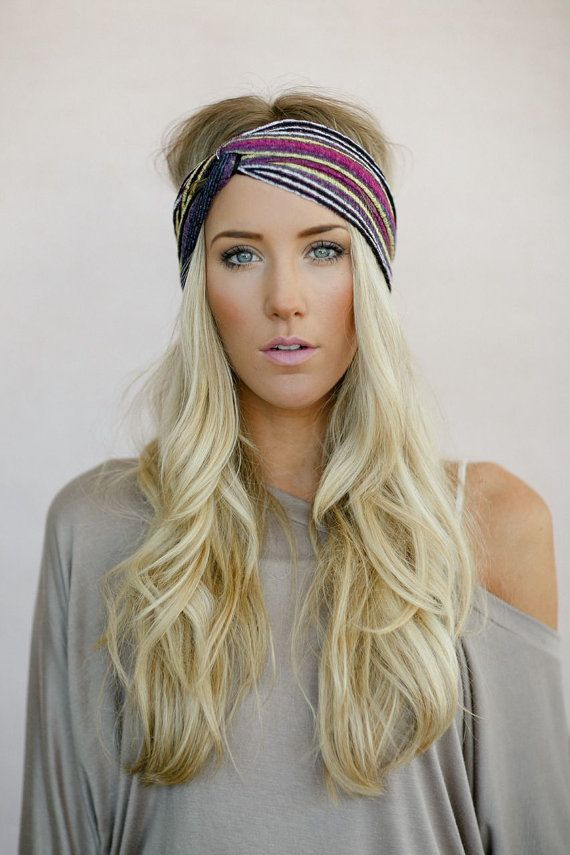 Turban Headband, Tribal Head Wrap, Fabric Hair Wrap, Fashion Hair Accessories, Printed Jersey Turband in Aztec (HB-3846) , $28.00
