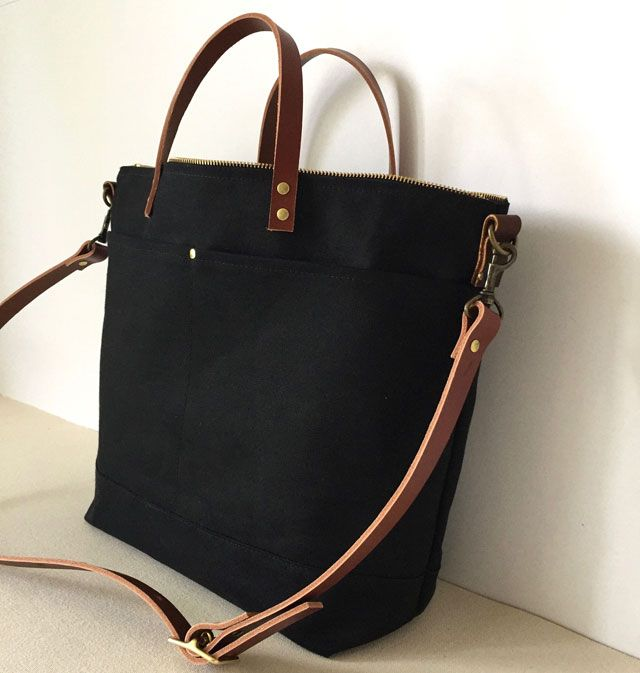 Modern Coup Utility Tote with front pockets  Custom colours: black with brown leather straps