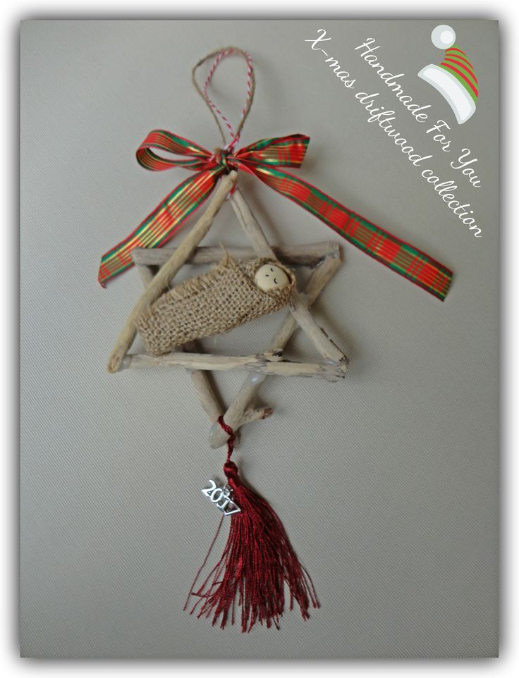 Driftwood christmas decoration. Driftwood star ornament.