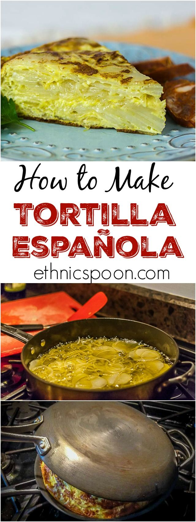 A must make traditional Spanish dish: Tortilla Espanola. This is similar to a fritata but the Spanish dish is onions &  potato slow cooked in a rich extra virgin olive oil until tender then combined with eggs until just tender inside. You will love this dish! | ethnicspoon.com