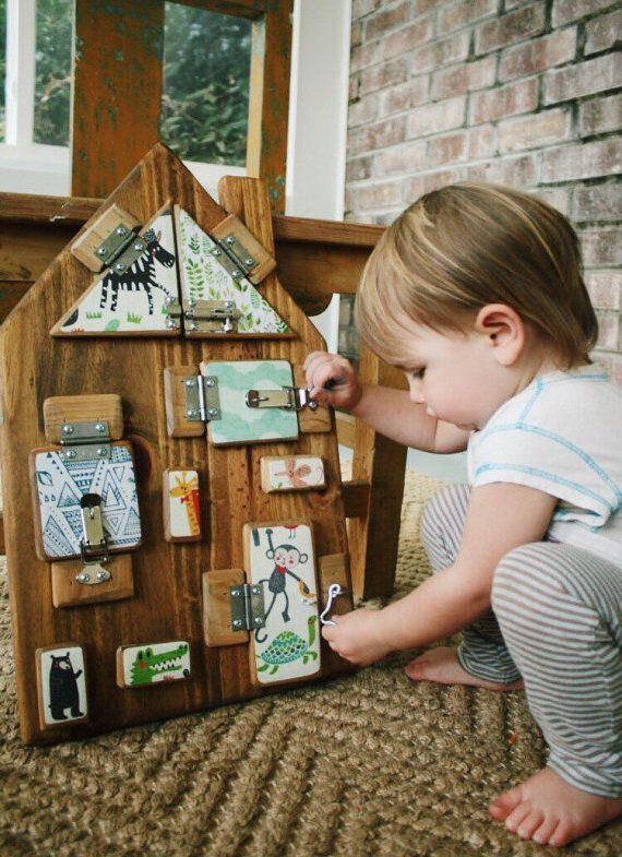 Handcrafted Custom Wooden Toy Latch Board / employed by WeeLittleN