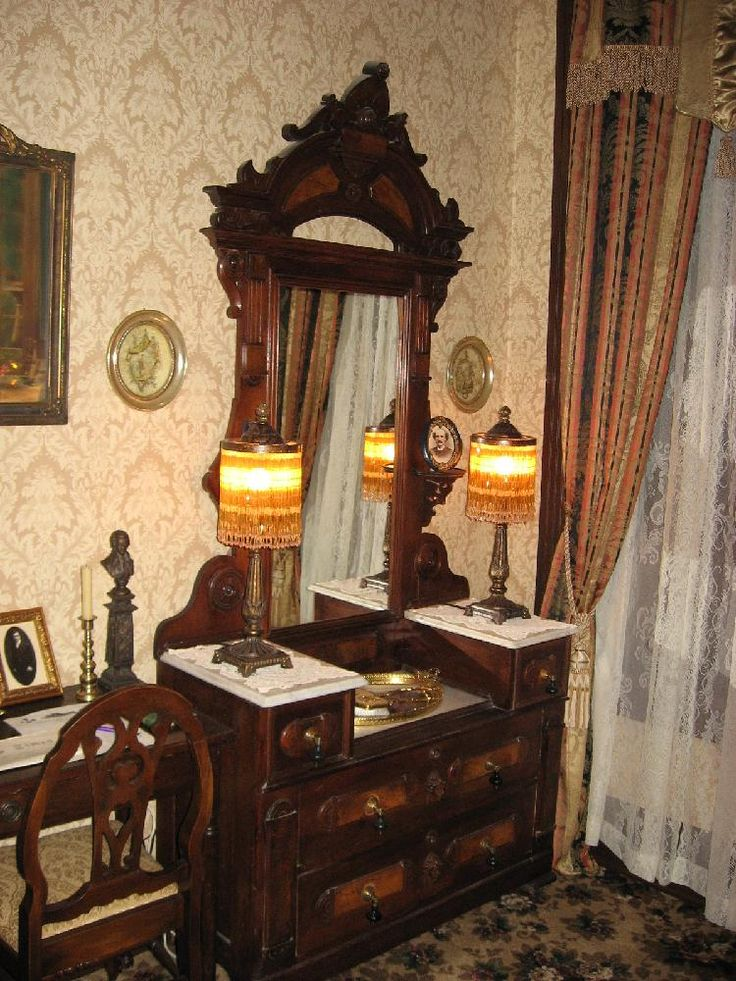 Victorian dresser with mirror glove boxes and