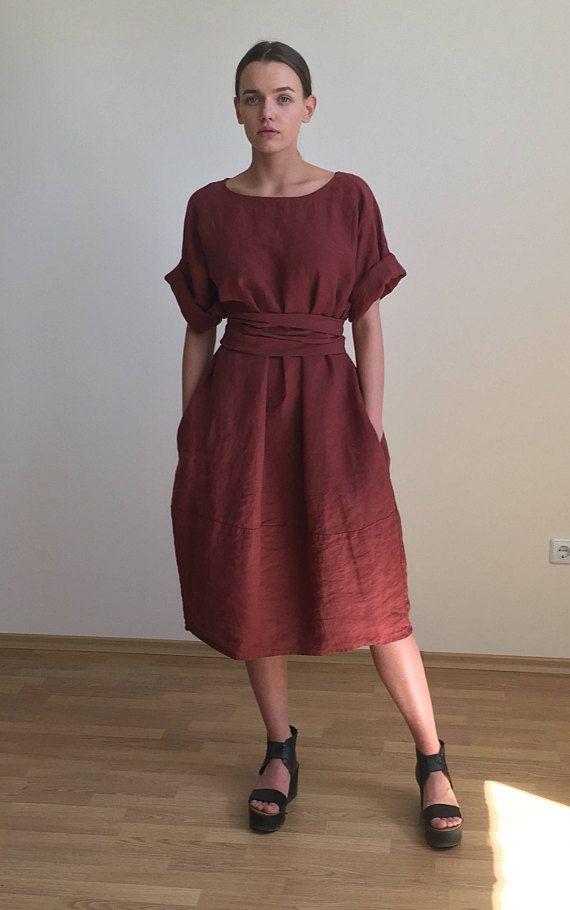 Dark red midi linen dress, loose linen tunic or flared dress with belt, kimono dress, natural linen tunic dress, plus size dress