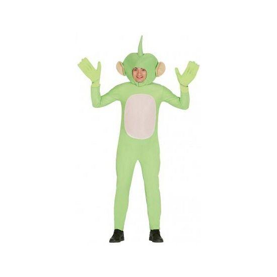 Alien kostuum voor volwassenen. Dit groene ruimtewezen pak bestaat uit: jumpsuit, capuchon en handschoenen. One size model: maat L.