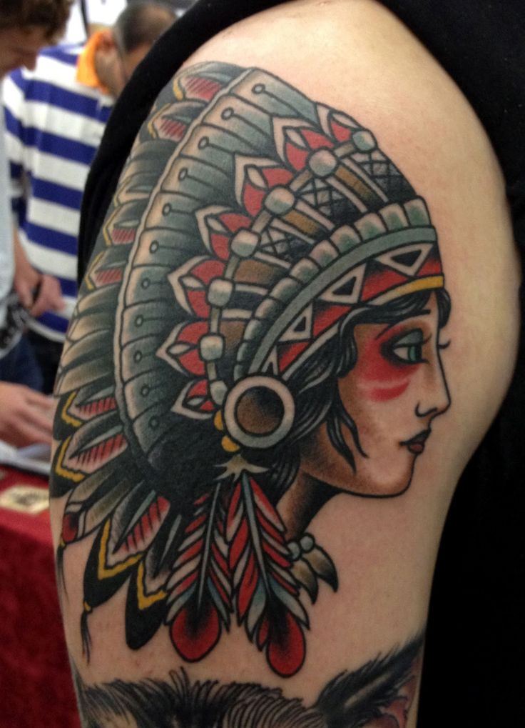 beautiful native american girl headdress tattoo - Google-søgning | Indian girl tattoos ...