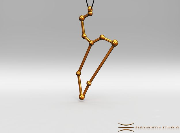 Leo Zodiac Constellation Pendant in Polished Gold Steel