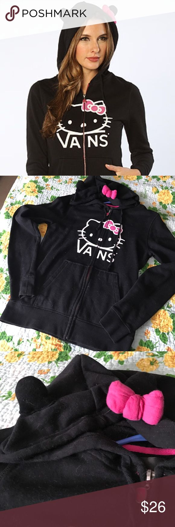 VANS Hello Kitty zip up hoodie with ears and bow. Super cute warm hoodie. Hoodie has ears and a bow accent. Like new! ✨ only worn a handful of times. (*cat/dog hair not included.*) Vans Jackets & Coats
