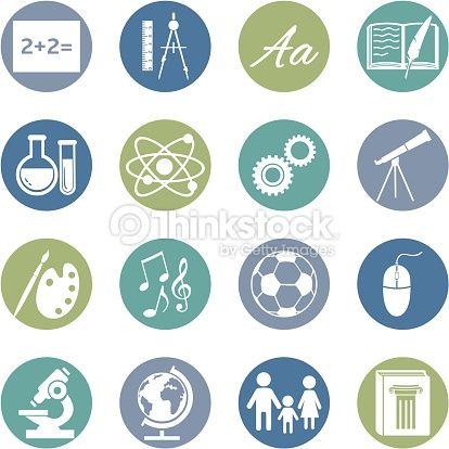 Vector Art : Vector Set of  School Subjects Icons.