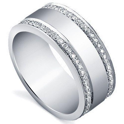 White Gold Over Round Sim.Diamond Half Eternity Men's Wedding Pinky Band Ring #Band #WeddingEngagementAnniversaryRing