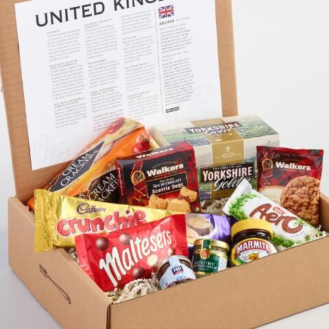 Explore a new world of tastes with this exclusive gift box filled with a selection of our most popular UK treats. Delight in pure butter Walkers shortbread and ginger cookies, crunchy chocolate-covered biscuits, savory Marmite, crisp Maltesers, the beloved peppermint Aero bar, English-style black tea, famed HP sauce, lush clotted cream and the original cream crackers.