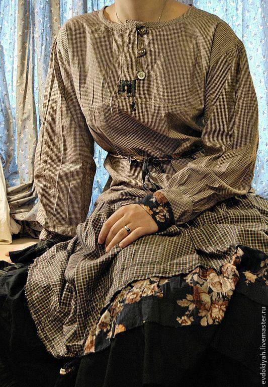 Купить ОДЕЖДА ДЛЯ СВОБОДНЫХ НАТУР - серый, Клеточка, юбка макси, бохо, рубашка, классика