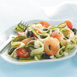 "Mediterranean Zucchini ""Pasta"" W/ Shrimp & Cherry Tomatoes 