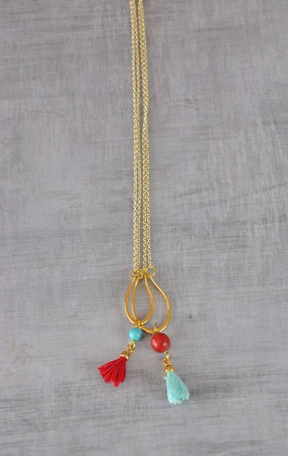 Boho Layer Necklaces  Beaded Tassel Necklaces  Hippie Petal