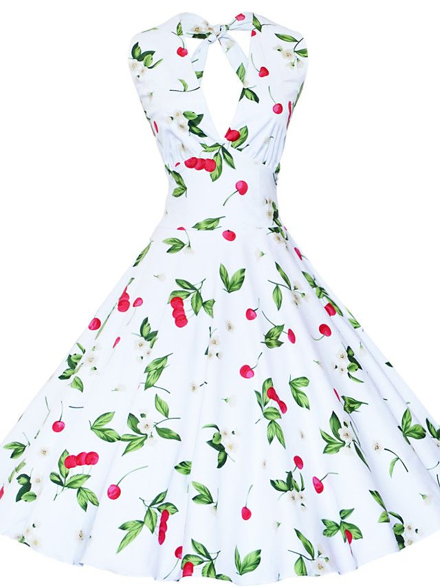 maggie tang vrouwen halter jaren '50 vintage rockabilly Marilyn pinup cherry cos partij swing jurk 504 - EUR €32.33