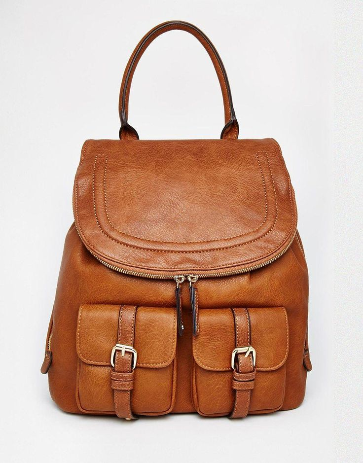 Aldo Tan Backpack With Top Handle And Double Pockets