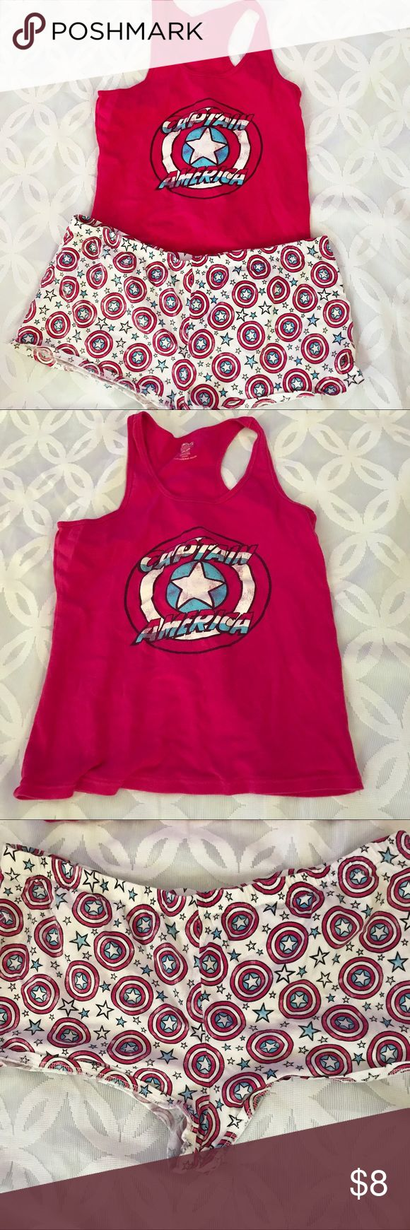 """Marvel Captain America Tank Top and Short PJ Set Marvel Captain America Tank Top and Short PJ Set  - Great pre owned condition. See all pics!                                                     Measurements Laying Flat Size 🔹 XXL Armpit to Armpit 🔹20"""" Shoulder to Hem 🔹 25"""".     Shorts waist 🔹19"""" Length 9"""" Bundle to Save 🤓 Sorry NO outside transactions 🚫 NO trades 🚫 Reasonable Offers welcomed 👍 NO Low balling 👎 NO modeling 👎 NO Holds👎 All items from a pet 😼and Smoke Free Home…"""