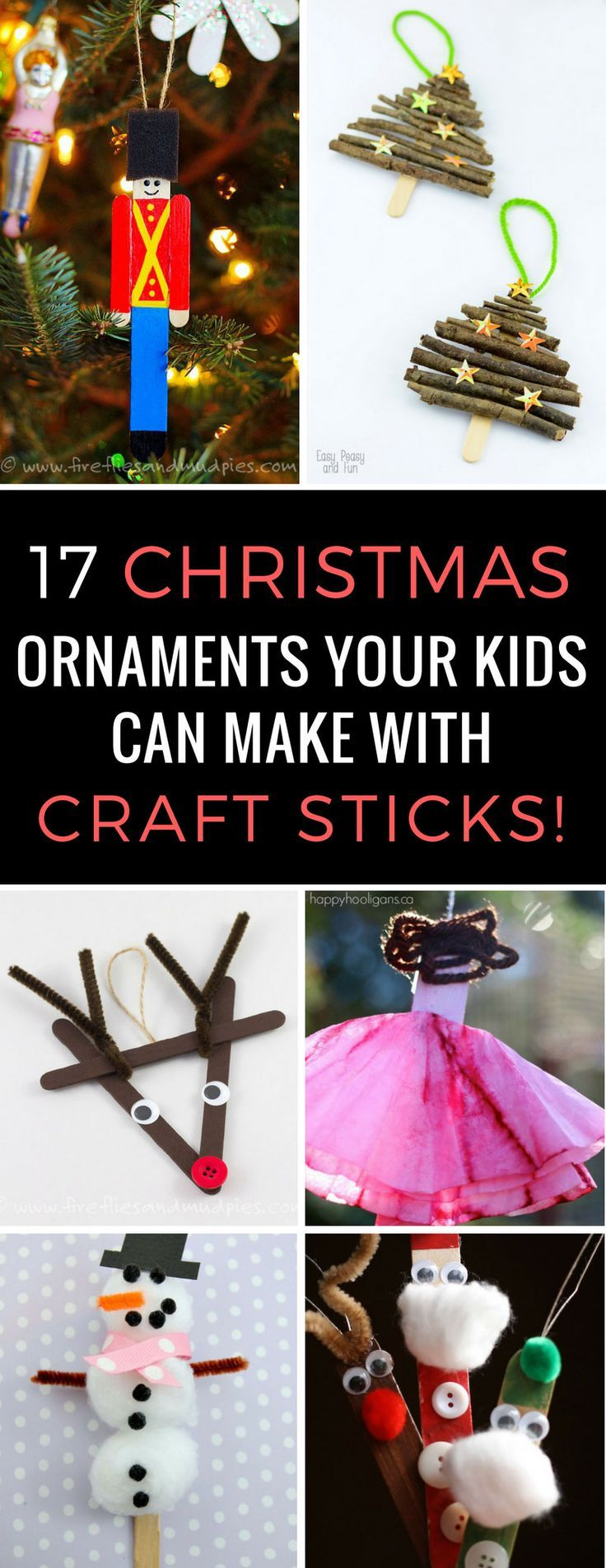 Popsicle Christmas ornaments have to be the easiest craft projects for kids to make in the Holidays and these are all so adorable I need to go to the Dollar Tree to get more craft sticks!