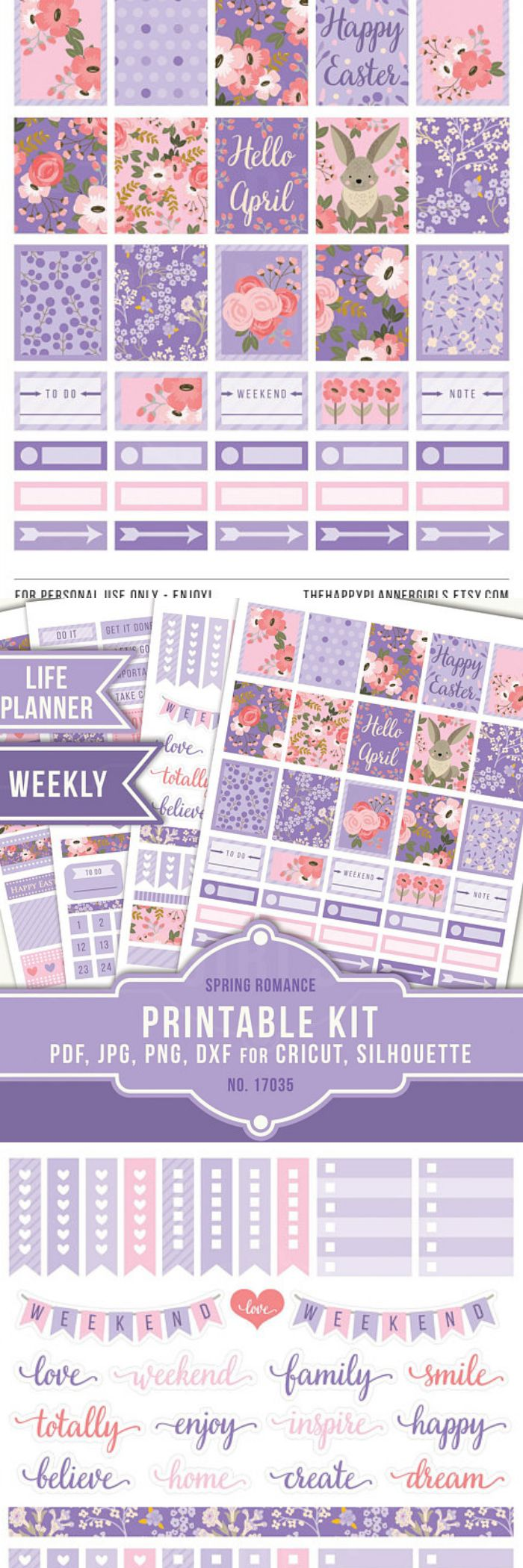These PRINTABLE planner stickers are perfect for the new 2018 Erin Condren Life Planner VERTICAL but of course the stickers can be used in other type of planners as well. Save money and make your planner beautiful wuth printables! April Planner Stickers, Erin Condren April Sticker Kit, Life Planner Vertical, April Weekly Planner Stickers, Easter Planner #eclifeplanner #stickers #bulletjournals #ad #printable #planner #printables #jpg #cutfile #etsy