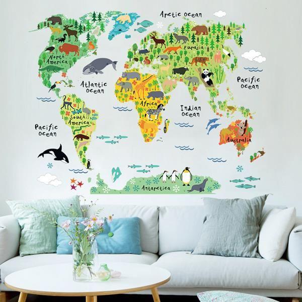 Cartoon Animal World Map Wall Sticker Living Room Home Decoration Creative Decal DIY Mural Wall Art