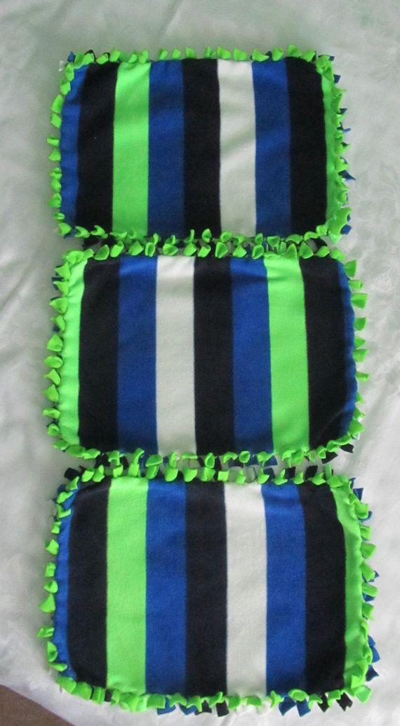 Blue/black/white/green striped fleece tie by BriersBlankets