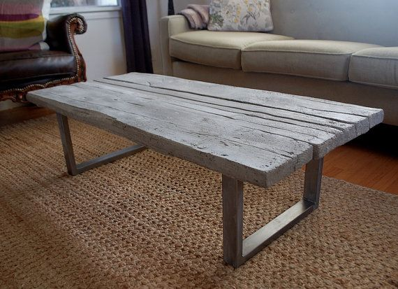 etsy Reclaimed wood cast concrete coffee table by smithconcretedesign .