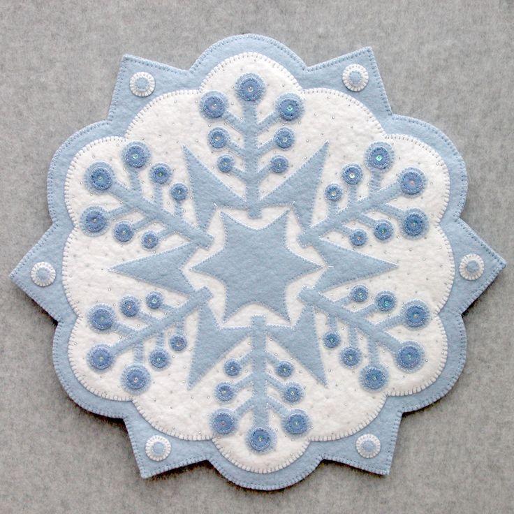 Free Wool Felt Applique Designs   snowflake 2 18 applique pattern designed in wool felt wool