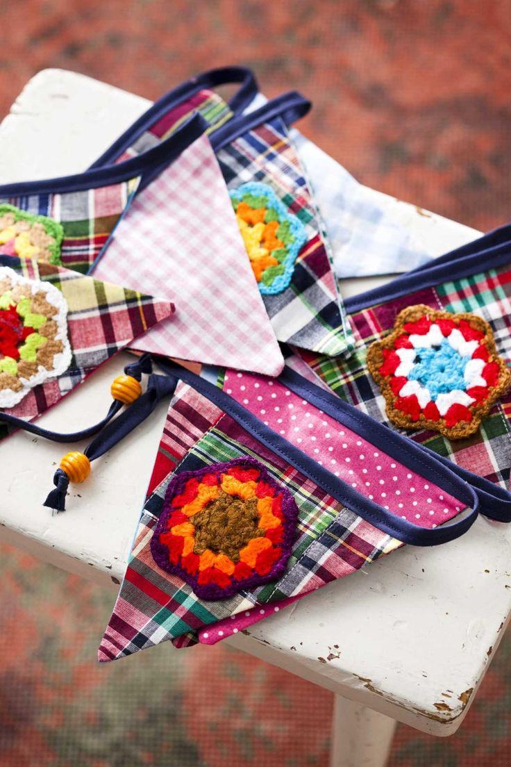 Virkattuja kukkia viirinauhassa, ompelu & askartelu, Crochet flowers on pennant banner (garland), sewing  & crocheting, diy ideas, tee itse ideat