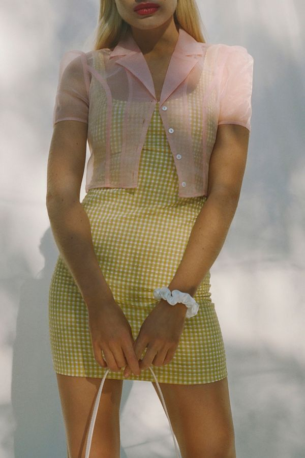 UO Mary Textured Gingham Dress