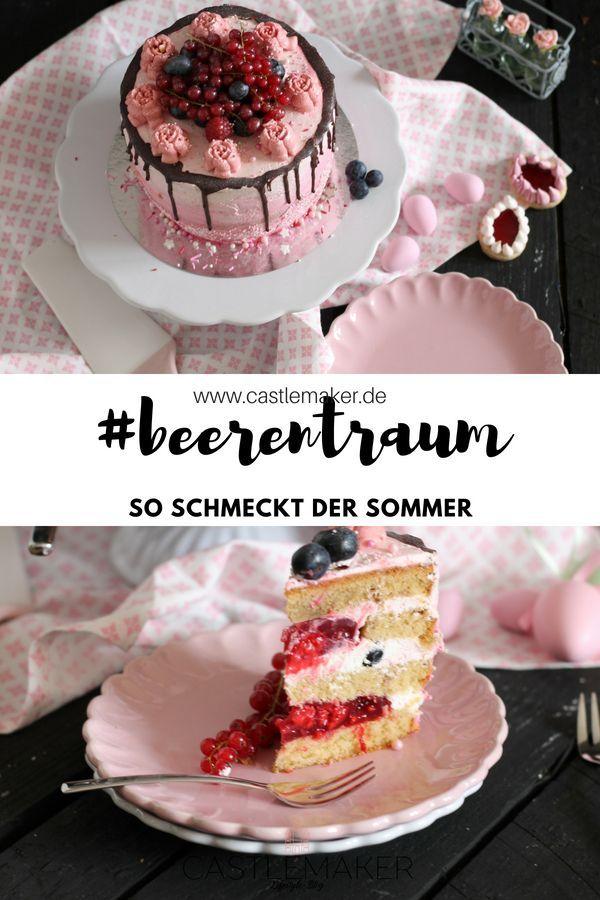 Fruchtige Torte Im Ombre Look Mit Himbeeren Heidelbeeren Drip Cake Castlemaker Fruchtige Torten Creme Fur Torten Kuchen Und Torten