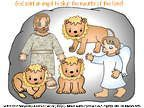 Illustrated printable story page of Daniel in the Lion's Den. Pictures in color also come in black and white for coloring pages.